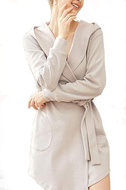 FZSH-WJ Bata de algodón para Mujer, Bata Ligera de baño con Cuello ...