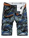 BLTR Men Cotton Camouflage Slim Fit Flat Front Beach Shorts Grey 29