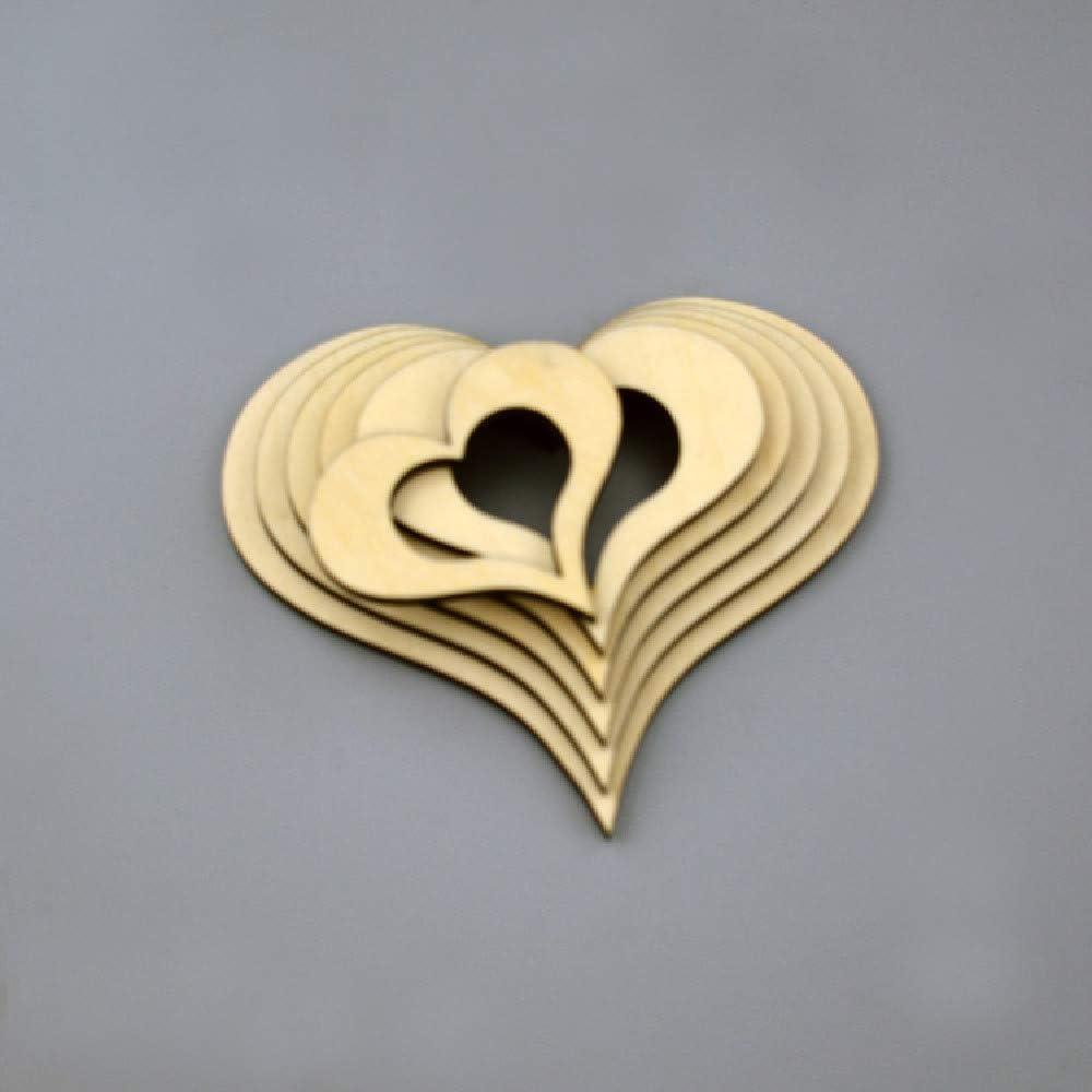 Diamant Herz aus Holz 5 Stück Gesteck Dekoration Hochzeit Scrapbook Decoupage