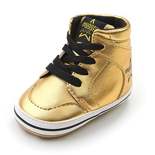 (Antheron Baby Boys Girls High-Top Ankle Outdoor Sneakers Anti-Slip Rubber Sole Toddlers First Walkers Shoes (Gold,12-18 Months))