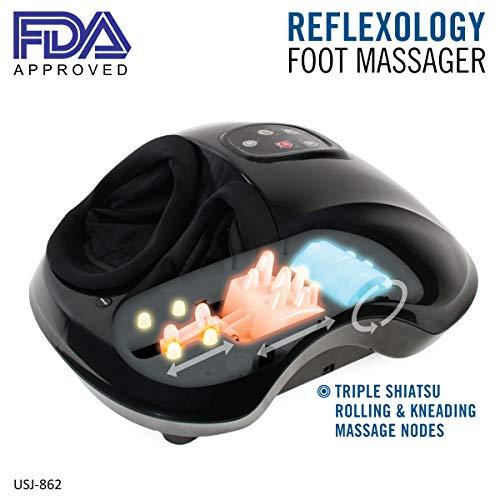 Daiwa Felicity Electric Reflexology Foot Massager Deep Shiatsu Kneading Massage with Heat Therapy