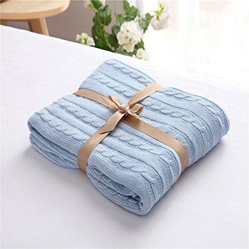 Easy Knit Blanket (ZHIMIAN Vintage Reversible 100% Cotton Cable Knit Blanket Super Soft Lightweight Throws 50