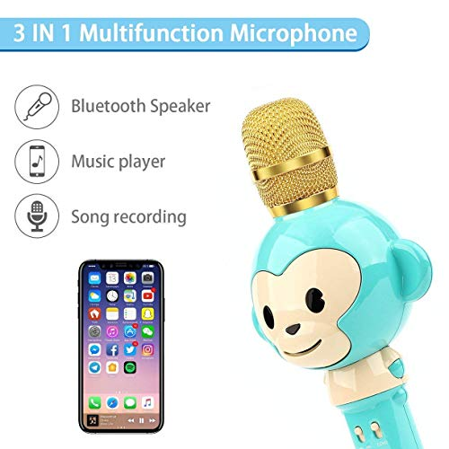 LingHui Kids Microphone Wireless Bluetooth Karaoke Microphone , 3-in-1 Portable Handheld Karaoke Mic Home Party Birthday Speaker Machine for iPhone/Android/iPad/Sony,PC and All Smartphone (Green) by LingHui (Image #2)