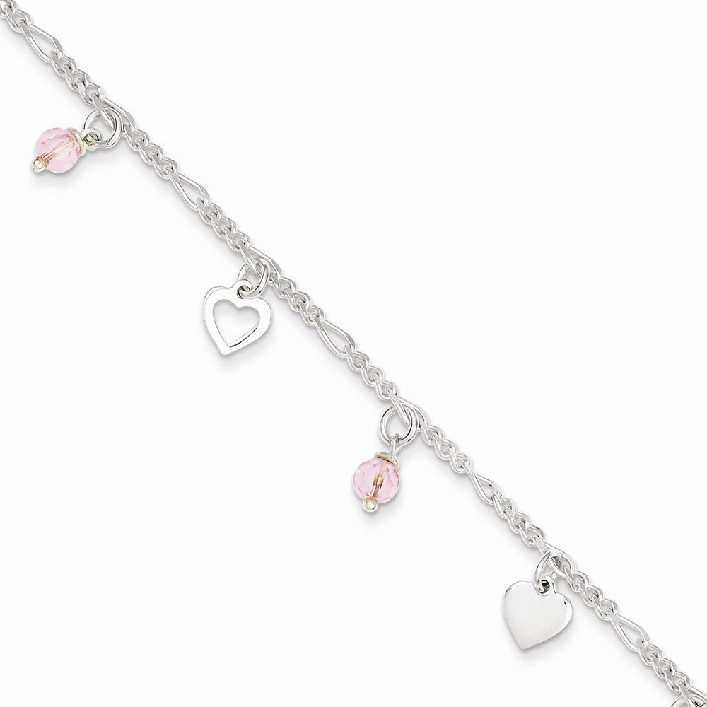 Sterling Silver 9 Polished Heart And Rose Glass W/ 1in Ext. Anklet