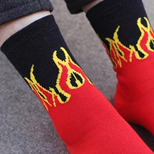 Men Hip Hop Red Flame Pattern Crew Socks Lifelike Jacquard Fire Skateboard Socks