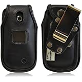 Turtleback LG Revere 3 VN170 Heavy Duty Black Leather Flip Phone Case with Removable Belt Clip - Made in USA
