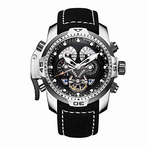 Reef Tiger Mens Sport Watches Complicated Black Dial Steel Case Automatic Watch Military Watches RGA3503 (RGA3503-YBBLB) Automatic Sports Mens Watch