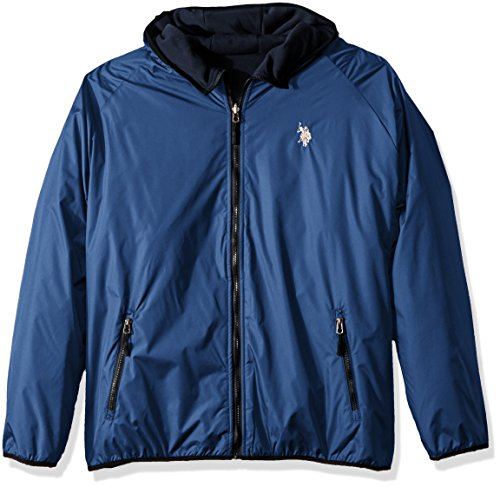 U.S. Polo Assn. Men's Standard Reversible Poly Shell to Fleece Hooded Jacket, Blue Whale 9029, M