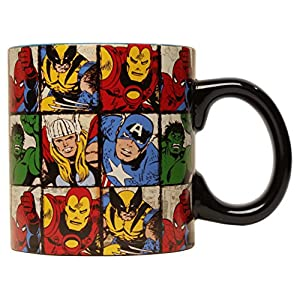 Marvel MV9134 Comics Character Grid Jumbo Ceramic Mug, 20-Ounces, Multicolor