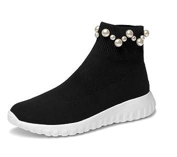 Lucdespo Señoras Zapatos Informales Calcetines Zapatos Botas de Lana de Punto Perlado Calzado Deportivo Elástico Calcetines Botas Cortas Zapatos Hip-Hop.