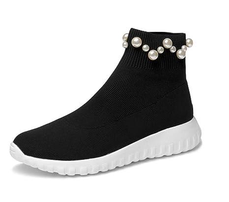 Lucdespo Mujer Calzado Casual Calcetines Zapatos Botas de Lana de Punto Perlado Calzado Deportivo Elástico Calcetines
