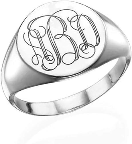 Sahaa Personalized Signet Initial Ring 925 Sterling Silver Custom Monogram Rings