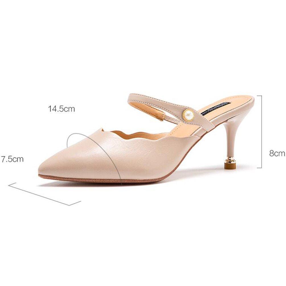 Jingsen Spring European High-Heels Fein mit Spitze Hohl (Farbe Schuhe Damenschuhe (Farbe Hohl   Beige, größe   34) 0166fd