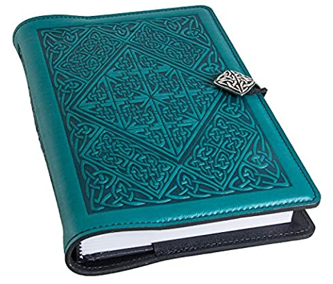 Genuine Leather Refillable Journal Cover + Hardbound Blank Insert | 6x9 Inches | Celtic Diamond, Teal With Pewter Button | Made in the USA by Oberon - Oberon Journal
