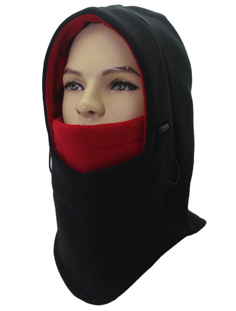 Winter Warm Windproof Balaclava Outdoor Sports Ski & Snowboard Face Mask/Unisex Double Layers Thicken Full Face Neck Hood Black 1
