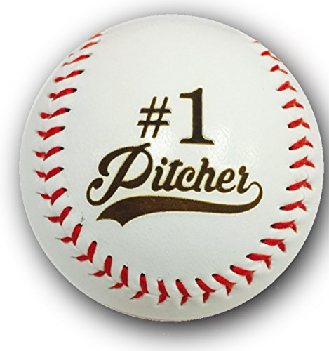 Synthetic Leather Baseball (#1 Pitcher Laser Engraved Synthetic Leather Baseball Gift)