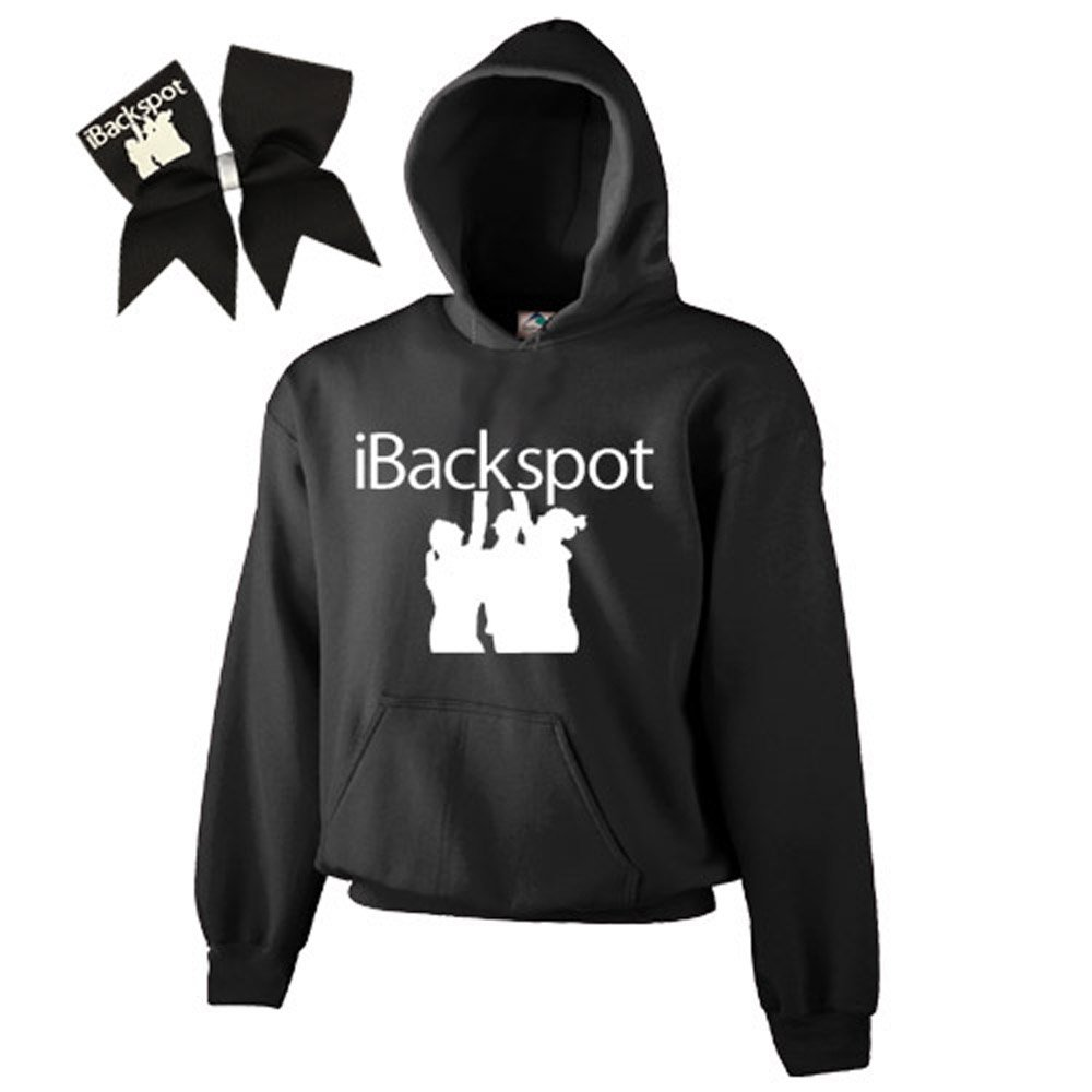 Black iBackspot Cheer ComBow-White Print Chosen Bows