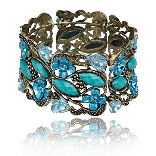 Less like Vintage Cuff Bracelets, VTG Rainbow Blue Flower Bracelet Crystal Beaded Resin Drop Rhinestone Bangle Gem Jewelry for Women