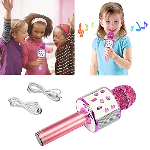 SUGOO Karaoke Microphone for Kids, Singing Machine Microphone Birthday Family Party Gift for Girls Boys Children Kids Age 6-15 Year Old Girl Gift Wireless Microphone Bluetooth Purple Mic by SUGOO (Image #4)