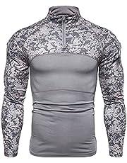 YZRDY Män kamouflage taktisk militär t-shirt kläder strid skjorta överfall långärmad snäv t-shirt armédräkt