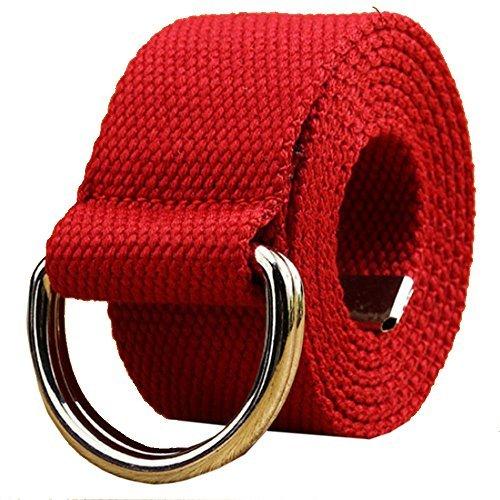 AIZESI Unisex Canvas Gürtel Gurtband Doppelschleife D Ring Schnalle Gürtel Lange Jeans Gürtel für Männer Frauen