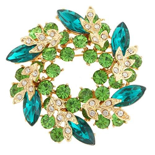 EVER FAITH Austrian Crystal Wedding Flower Wreath Brooch Pin Green Gold-Tone