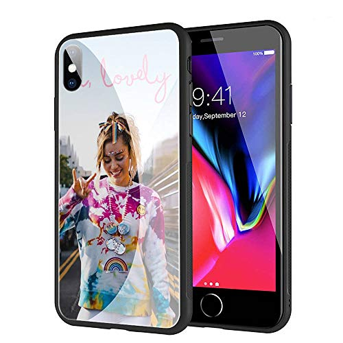 GUOZHAO Phone Case iPhone 7/8,GZA-78 Miley Cyrus Tempered Glass Back Black Cover and Soft Silicone Rubber Bumper Frame for Scratch-Resistant and Anti-Scratch - Miley Proof Cyrus