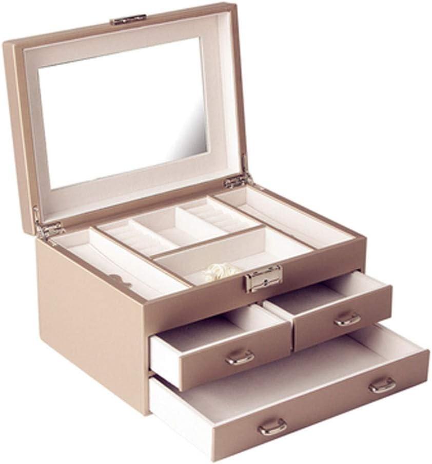 大ジュエリー収納ボックス ストレージコレクションディスプレイ装飾ボックスを仕上げジュエリーボックスハイグレードレザー大容量の木製ジュエリー収納ボックスギフト 宝石箱 (Color : Gold)