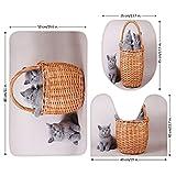 3 Piece Bathroom Mat Set,Kitten,Three British Cats Kitties in Basket Adorable Baby Animals Fluffy Pets Decorative,Grey Light Brown Dust,Bath Mat,Bathroom Carpet Rug,Non-Slip