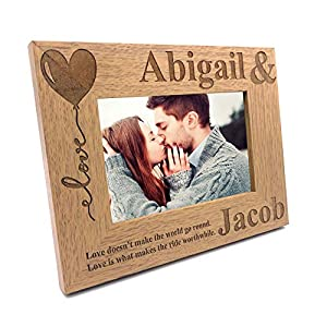 ukgiftstoreonline Personalised Love Couple Photo Frame Gift (4 x 6 Inch)