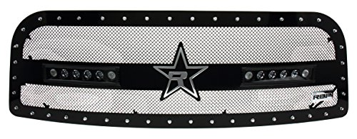 Rbp Grilles - RBP RBP-967463 Steel Grille (Dodge Ram 2500/3500 RX-3 LED Midnight Edition Single Black Stainless, with Studded Frame (LED Light Included))