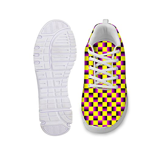 HUGS IDEA HUGSIDEA Plaid Fashion Ultra Light Womens Running Shoes Lace-up Mesh Breathable Sports Sneakers US11 x9sVa70qr