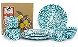 Enamelware 16 Piece Dinnerware Starter Set - Turquoise Marble