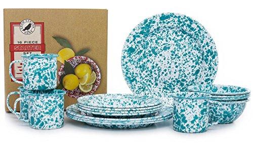 Enamelware 16 Piece Dinnerware Starter Set - Turquoise Marble (Set Dinner Marble)
