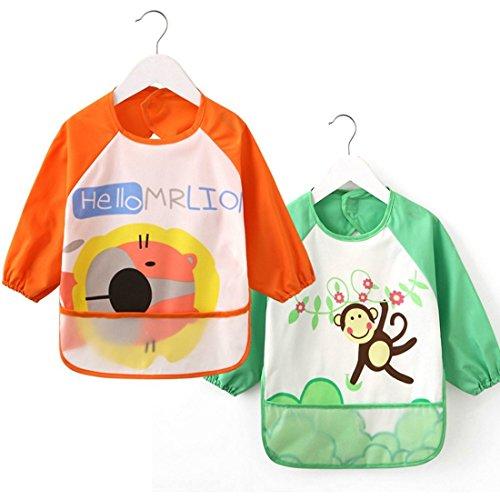 [2 Pack] Baby Bibs with Pocket,Waterproof Sleeved bib,100% Polyester Fiber Bibs for Teething Feeding Baby_CLRST5