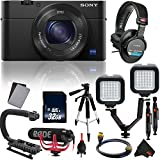 Sony Cyber-Shot DSC-RX100 IV Digital Camera Vlogging Kit with Rode Mic, Sony Studio Headphones International Model