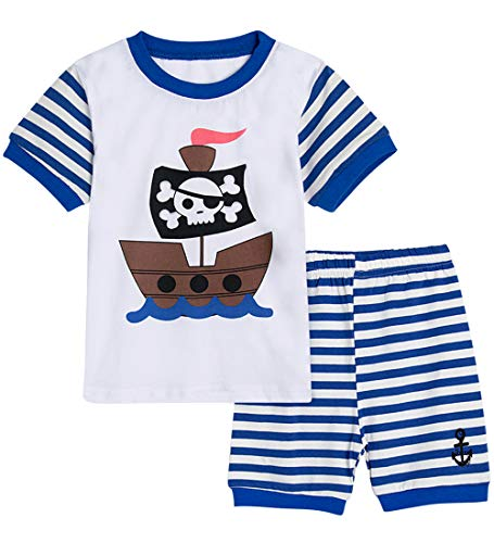 A&J DESIGN Kids Boys Pirate Pajamas Short Sleeve Summer Sleepwear Sets (4T, Blue) -