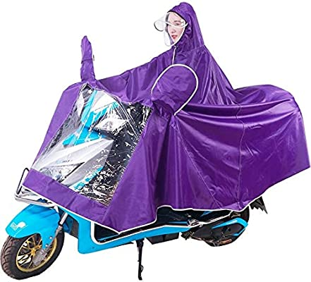 Mens Womens Bike Cycling Bicycle Raincoat Hooded Rain Cape Durable Scooter Cover