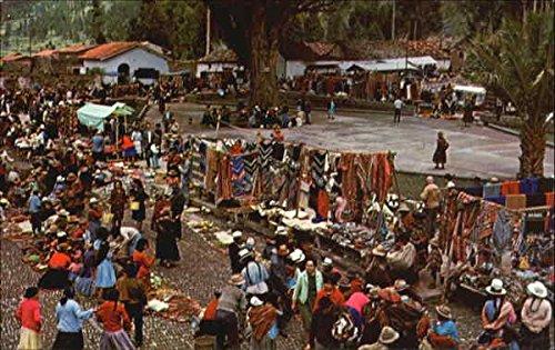 Colorful Sunday Market In Pisac, Pisac Cuzco, Peru Original Vintage Postcard