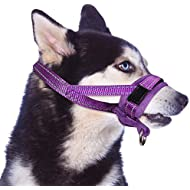 SlowTon Nylon Dog Muzzle, Dog Mouth Cover Adjustable Soft Padded Quick Fit Comfortable Muzzles for Medium Large Dog Outdoor Anti Biting Behavior Training Stop Chewing Barking Attach to Collar (M, PU)