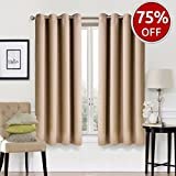 #3: Blackout Curtains 2 Panels Set Room Darkening Drapes Thermal Insulated Solid Grommets Window Treatment Pair for Bedroom, Nursery, Living Room,W52xL63 inch,Khaki