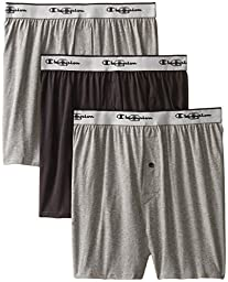 Champion Men\'s 3-Pack Knit Boxer, Gray/Black, Medium