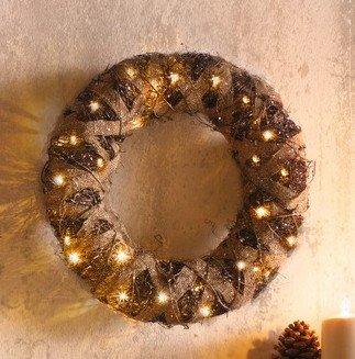 Deko Kranz Jute Inkl Beleuchtung Weihnachtsbeleuchtung