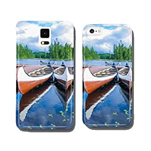 Canoes reflected on a turquoise lake, Quebec, Canada cell phone cover case iPhone6