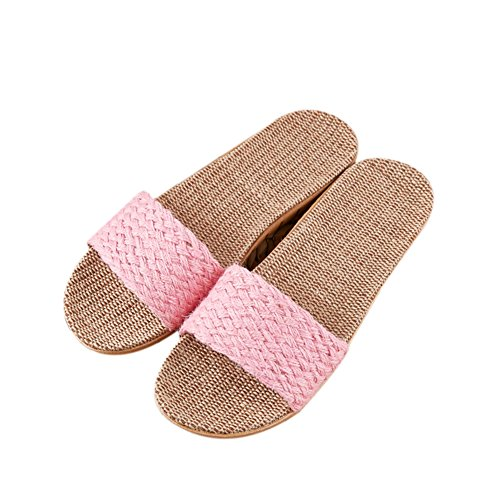 Suction Four Spring Winter Summer Home TELLW women Odor 2 Cotton Couples Slippers Cool Linen Shoes Proof Fall pink Flax Sweat Indoor Linen Sandals Seasons 5w8qqXxYa