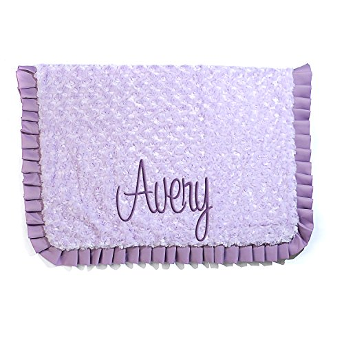 Personalized Baby Receiving Blanket Perfect Baby Gift For Baby Girl - Purple (Hearts Flannel Receiving Baby Blanket)