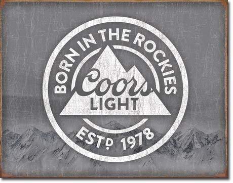 Desperate Enterprises Coors Light Born in The Rockies Beer Tin Sign 16 X -