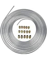 Dciustfhe Zinc Steel Brake Line 25 Foot Tubing Kit 1/4 OD Coil Roll & 15Pcs Tube Fittings
