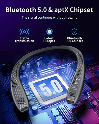Bluenin BlueWings Pro 1 Bluetooth Headphones, Bluetooth 5.0 Neckband Wireless Headphones ANC Noise Cancelling Headset with Carrying Case, Retractable Earbuds Stereo Earphones.(Black)