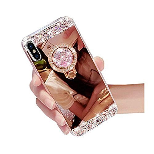 Lozeguyc iPhone 6 Plus Case,Crystal Rhinestone Mirror Glass Case Bling Diamond Soft Rubber Makeup Case for iPhone 6 Plus/6S Plus 5.5 Inch with Detachable 360 Degree Ring Stand-Rose Gold (Best Makeup Case Reviews)